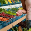 Grocery store shopping - Basket with food — Stock Photo