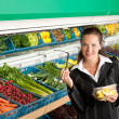 Grocery store shopping - Business woman buying fruit salad - Стоковая фотография