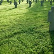 Stock Photo: Cemetery with crosses in grass during sunset