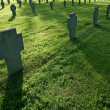 Cemetery with grass during sunset - Stock Photo