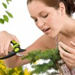 Gardening - woman cutting tree with pruning shears — Stock Photo