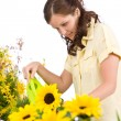 Gardening - Woman pouring sunflowers with watering can — Stok fotoğraf