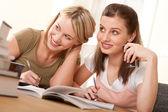 Student series - Two girls doing homework — Stock Photo