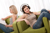 Student series - Two students sitting on armchairs — Stock Photo