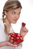 Healthy lifestyle series - Woman with strawberry — Foto Stock