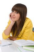 Student - female teenager with book — Stock Photo