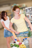 Shopping series - Red hair woman with cart — Stock Photo