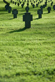 Grass field with crosses during sunset, cemetery — Stock Photo