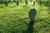Cemetery with grass during sunset — Stock Photo