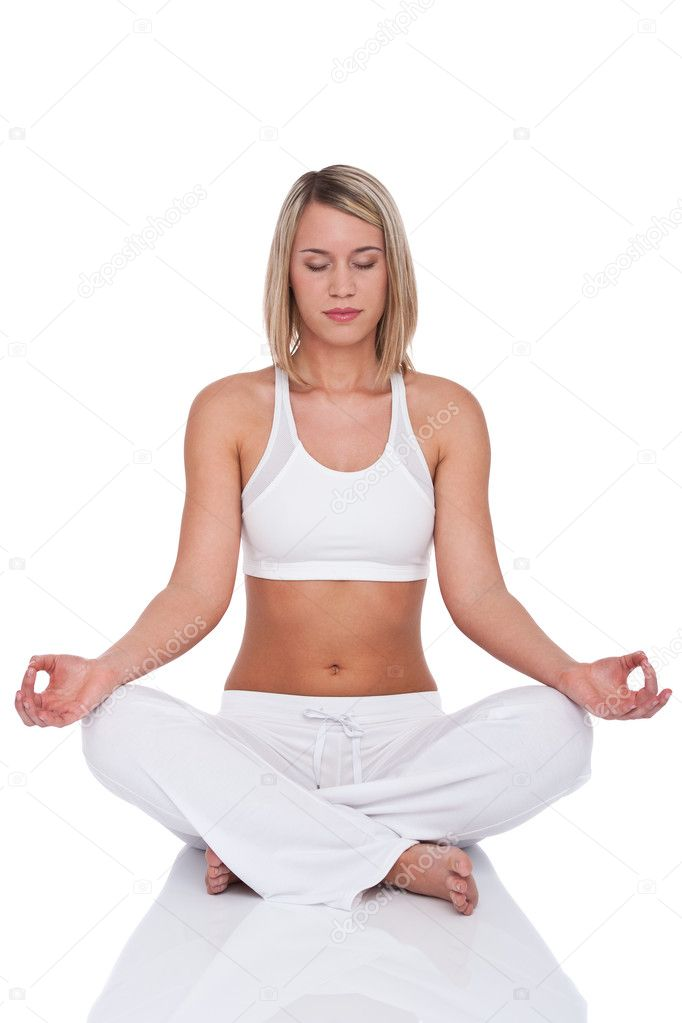 Fitness series - Blond woman in yoga position on white background — Stock Photo #4682518