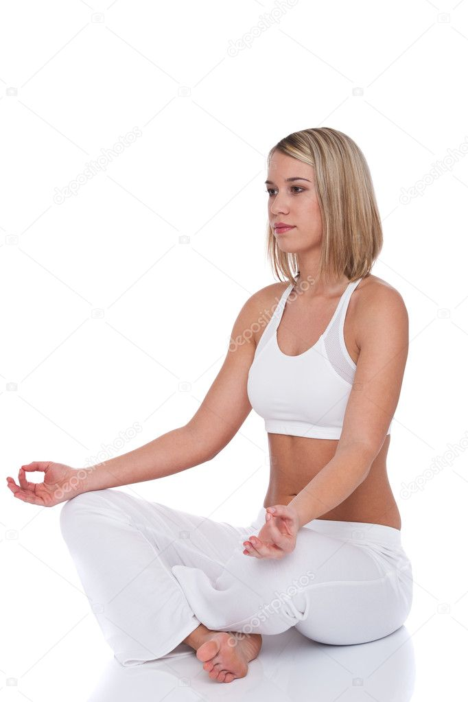 Blond woman in yoga position on white background  Stock Photo #4682519
