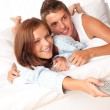 Young couple watching television — Stock Photo #4691121