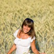 Stock Photo: Happy womin corn field enjoy sunset