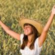 Happy woman enjoy sun in corn field — Stock Photo #4692157