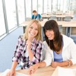 Three high school students with laptop — Stock Photo