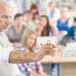 Math lesson at high school - students — Stockfoto