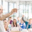 Math lesson at high school - students with professor — Stockfoto