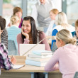Group of students study in classroom — Stock Photo