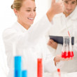 Scientists in laboratory - test vaccination — Stock Photo