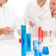 Team of scientists in laboratory - medical research — Stock Photo
