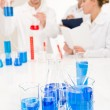 Laboratory - beaker with blue liquid — Stock Photo