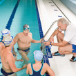 Pool coach - swimmer training competition — Stock Photo #4693348