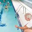 Stock Photo: Swimming pool - swimmer training competition