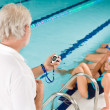 Swimming pool - swimmer training competition — Stock Photo