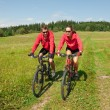 Young couple riding mountain bike in spring meadow — Stock Photo #4693585