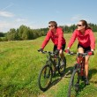 Young couple riding mountain bike in spring meadow — Stock Photo #4693586