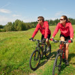 Royalty-Free Stock Photo: Young couple riding mountain bike in spring meadow