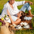 Picnic - Romantic couple in spring nature — Stock Photo