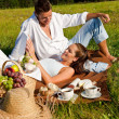 Stock Photo: Picnic - Romantic couple in spring nature