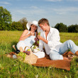 Picnic - Romantic couple in spring nature — Stock Photo #4693673