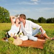 Picnic - Romantic couple in spring nature — Stock Photo #4693679