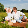 Picnic - Romantic couple in spring nature — Stock Photo #4693684
