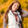 Autumn park - long red hair woman fashion — Stock Photo #4693997