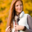 Autumn park - long red hair woman fashion — Stock Photo #4694000