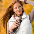 Autumn park - long red hair woman fashion — Stock Photo #4694001