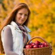 Autumn country - woman with wicker basket — Stock Photo #4694005