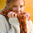 Autumn country sunset - red hair woman — Stock Photo