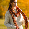 Autumn country sunset - red hair woman — Stock Photo #4694025
