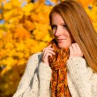 Autumn country sunset - red hair woman — Stock Photo #4694027