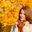 Stock Photo: Autumn country sunset - red hair woman