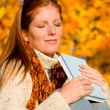 Autumn sunset country - woman relaxing — Stock Photo