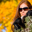 Stock Photo: Autumn sunset park - woman fashion in nature