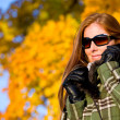 Autumn sunset park - red hair woman fashion — Stock Photo #4694055