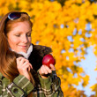 Autumn sunset park - red hair woman fashion — Stock Photo #4694059