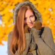 Autumn sunset park - red hair woman fashion — Stock Photo #4694063