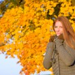 Autumn sunset park - red hair woman fashion — Stock Photo #4694065